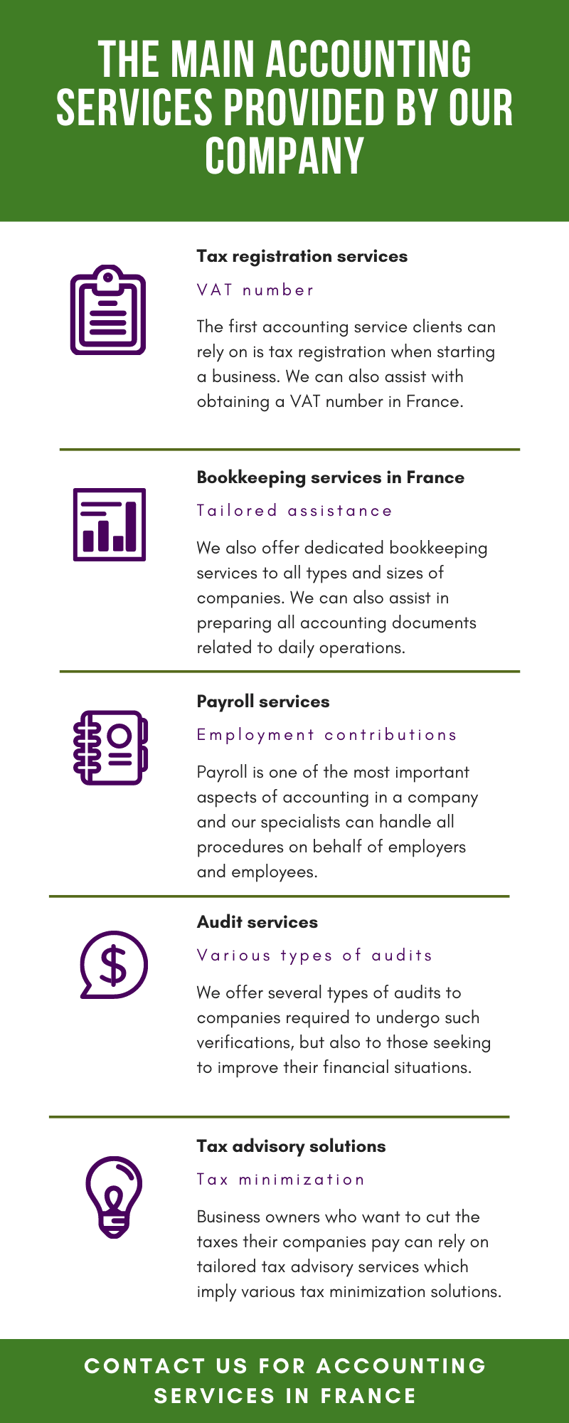 The Main Accounting Services Provided by our Company